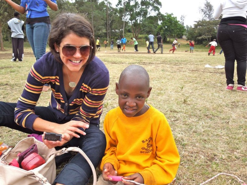 At a community event in Ngong taking a break from playing football.