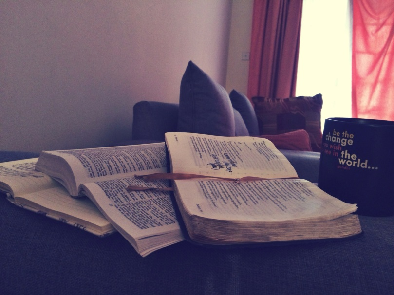 My favorite way to start the day, this comfy chair with a journal, stories of faith and hot tea.