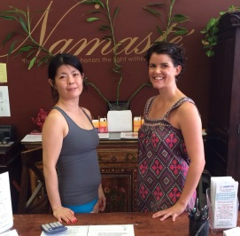 Yoga master Naiomi and me after I completed my 30 day challenge at Bikram Yoga Westheimer - Namaste!