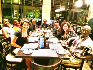 The training team celebrates our hard work by having dinner together.
