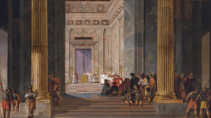The Queen of Sheba Before the Temple of Solomon - by Salomon de Bray https://commons.wikimedia.org/wiki/File:The_Queen_of_Sheba_before_the_temple_of_Solomon_in_Jerusalem,_by_Salomon_de_Bray_(1597-1664).jpg